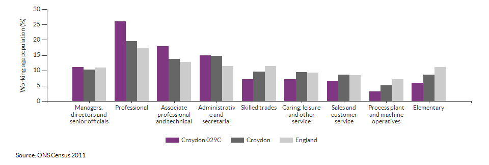 Occupations for the working age population in Croydon 029C for 2011