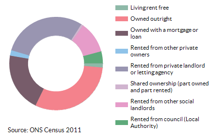 Property ownership for Abbeygate (St Edmundsbury) for 2011