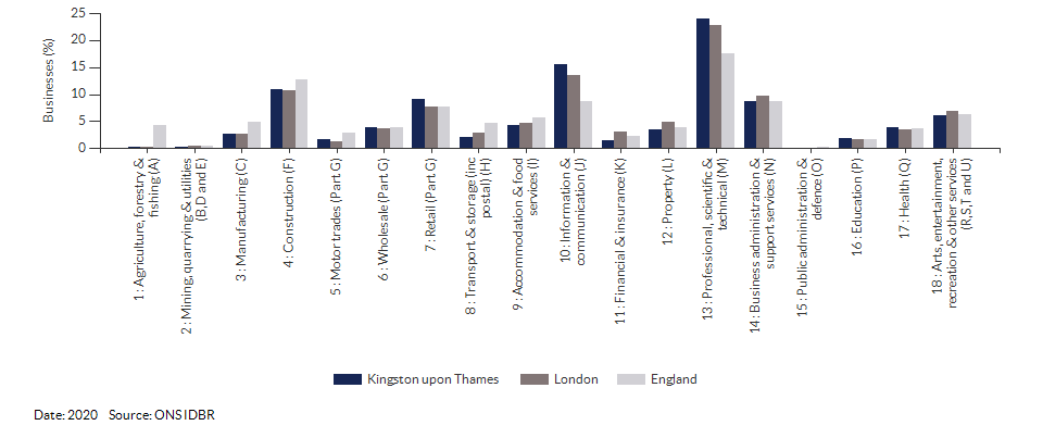 Enterprises by industry for Kingston upon Thames for (2020)
