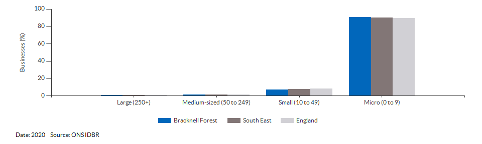Enterprises by employment size for Bracknell Forest for (2020)
