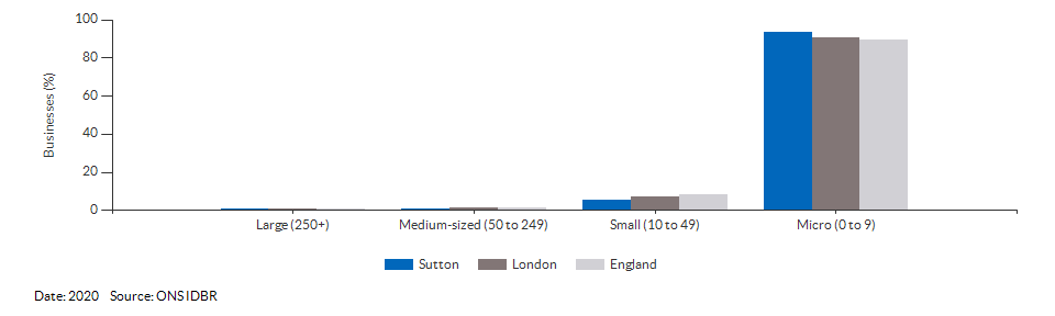Enterprises by employment size for Sutton for (2020)