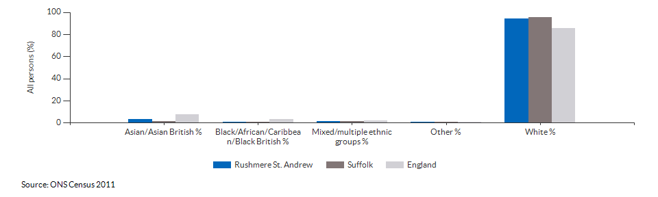 Ethnicity in Rushmere St. Andrew for 2011