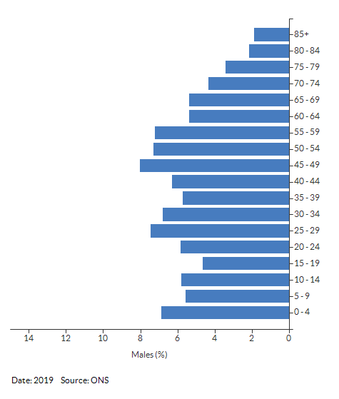 5-year age group male population estimates for Bishop's Itchington for 2019