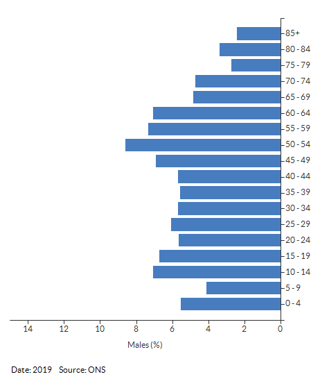 5-year age group male population estimates for Southam South for 2019