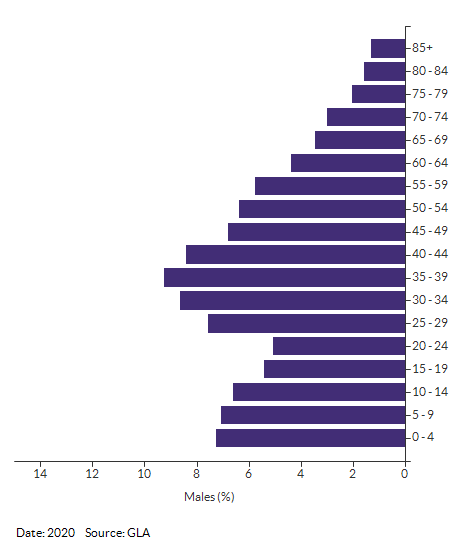 5-year age group male population projections for Merton