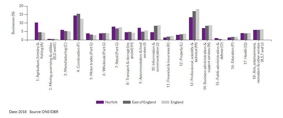 Enterprises by industry for Norfolk for (2018)