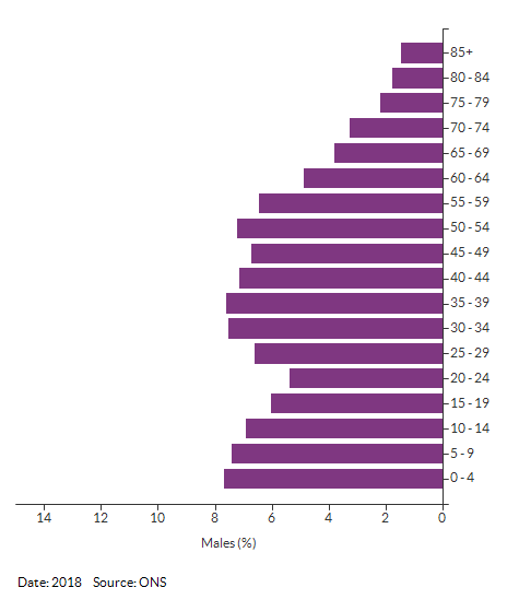 5-year age group male population estimates for Croydon for 2018