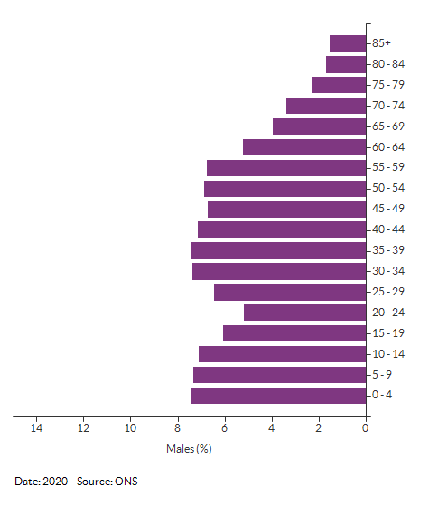 5-year age group male population estimates for Croydon for 2020
