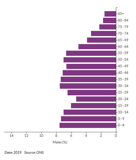 5-year age group male population estimates for Croydon for 2019