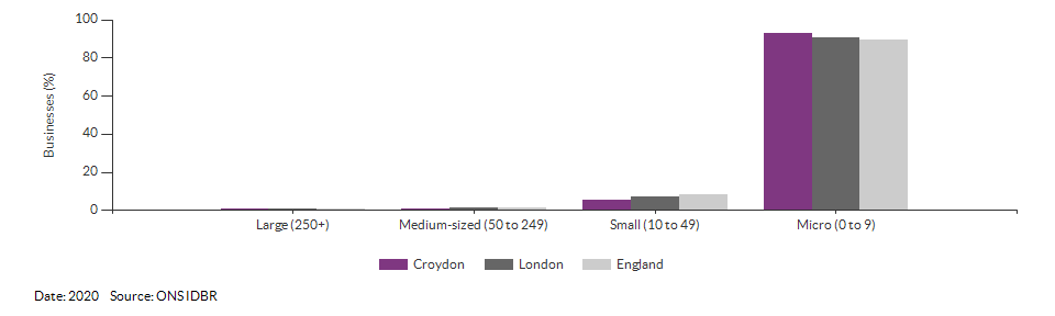 Enterprises by employment size for Croydon for (2020)