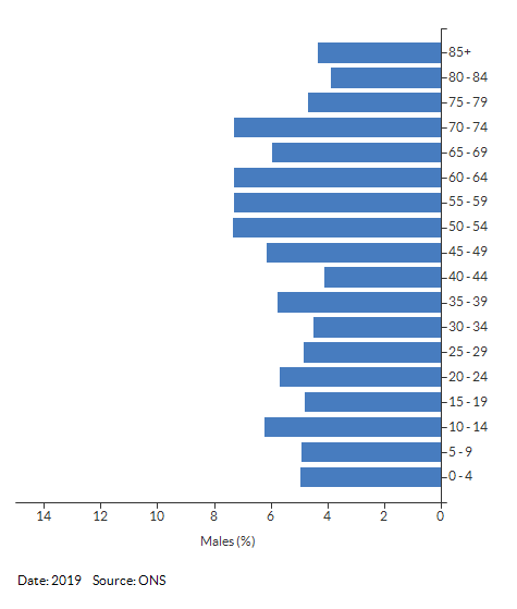 5-year age group male population estimates for Alcester for 2019
