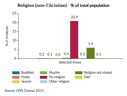 Religion (non-Christian) - % of total population