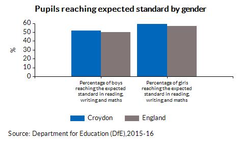 Pupils reaching expected standard by gender