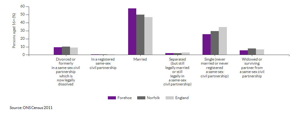 Marital and civil partnership status in Forehoe for 2011