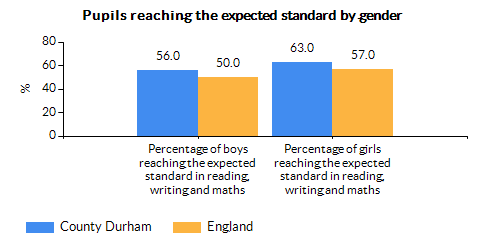 Chart for County Durham using Percentage of boys reaching the expected standard in reading, writing and maths