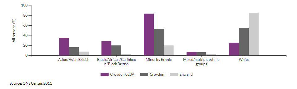 Ethnicity in Croydon 020A for 2011