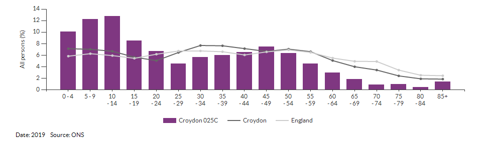 5-year age group population estimates for Croydon 025C for 2019