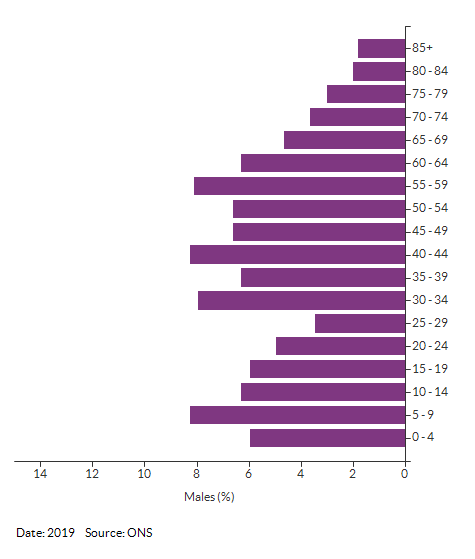 5-year age group male population estimates for Croydon 032C for 2019